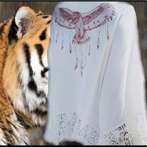 Indian Eagle Ethnic White Lace Bell Sleeve Kimono